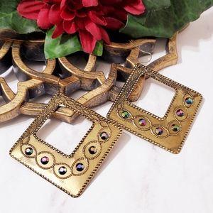 E1110 Boho Diamond Cutout Deco Drop Earrings